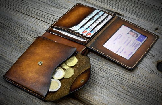 03 Coin Pocket Wallet for men. Leather wallet with coin purse. Leather bifold…
