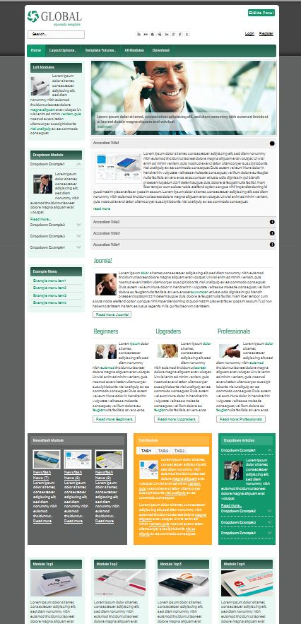 """AT_GLobal"" Responsive web template for Joomla! in green inspired color built with lots of modules, social media ready and two set colored background in customize bottom color."