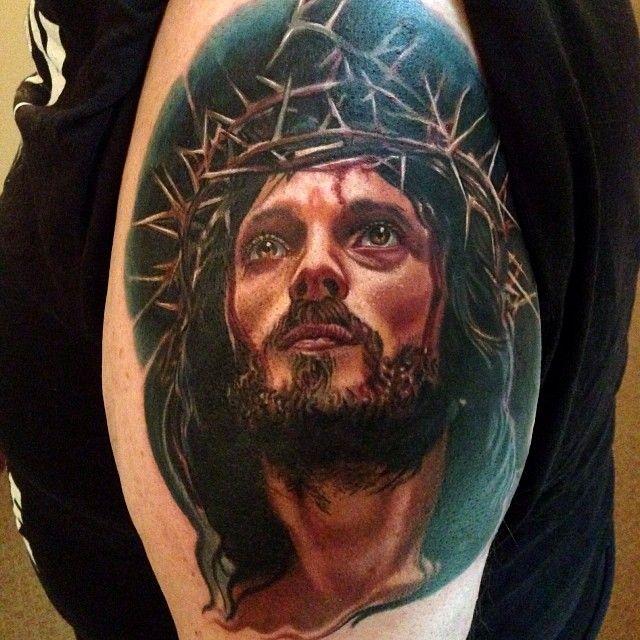#Wip started at Last Rites. - Timothy Boor (Kokomo, IN) LIKE US Facebook: www.facebook.com/Tattooedink  FOLLOW BLOG: http://tattooedpage.tumblr.com/ #tattoos #tattoo #tattooed #art #ink #artist #realistic #realism #tattooartist #awesometattoos #besttattoos #blackandgreytattoos #colortattoos #followme #TimothyBoor #Jesus