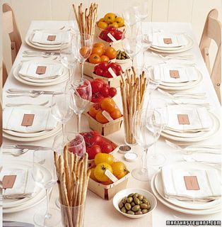Italian Dinner Party idea - love the punnets of tomatoes