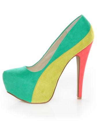 #lovelulus: Block Platform, Qupid Penelope, Platform Pumps, Sea Green, Pastel Colors, Colors Block, Summer Colors, New Shoes, Bright Colors