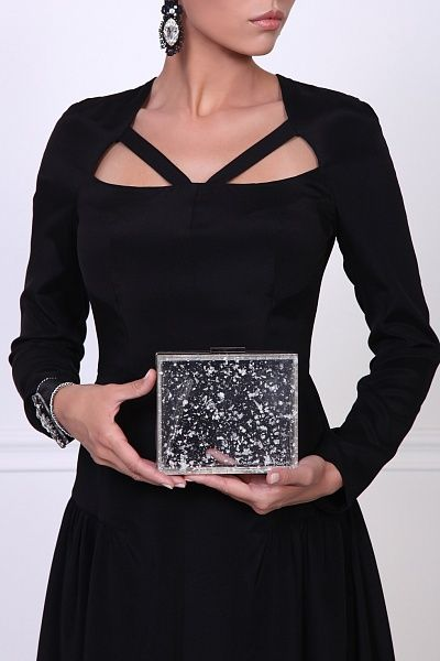 Look at our trendy transparent evening clutch with pieces of silver foil spread over the bag surface.  Soon you will be able to order it online!