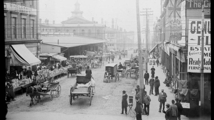West Market Street, Toronto, 1888. Shows the east side of the North Market and the 1845 City Hall (with cupola, now the South Market) to the south.