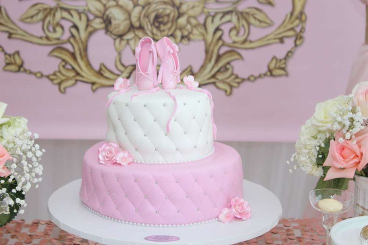 Wow! What a gorgeous Pink Ballerina Baby Shower cake!! Love it!! See more party ideas at CatchMyParty.com