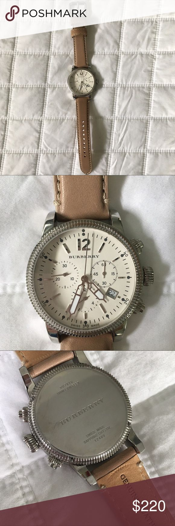 Burberry Chronograph Watch Only worn a few times, leather strap is still stiff.  Nice taupe color band.  Just recently replaced the battery.  I purchased this a few years ago and have misplaced the original box.  I have tiny tiny wrists and this is just bigger than I prefer.  I'm just not cool enough to rock an oversized watch 🤣😭 Burberry Accessories Watches
