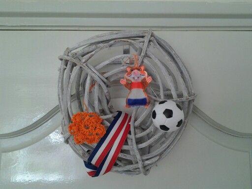 Krans WK voetbal oranje AH Hamster! Wreath Soccer