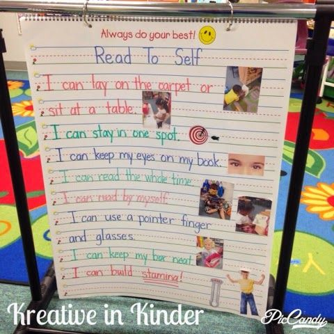 Great anchor chart with pictures and words for Read To Self   Kreative in Kinder
