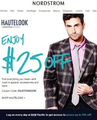 $25 discount at #Nordstrom's HAUTELOOK using CODE: ENJOY25NOWM! Ends 28/2. #haute #fashion