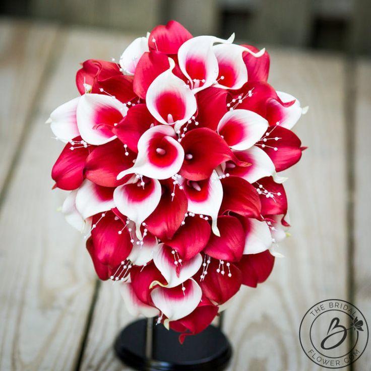 Red Kaskade Hochzeit Calla Lily Bouquet mit Perlensprays – #Caskadenhoc …   – https://well.girlscare.co