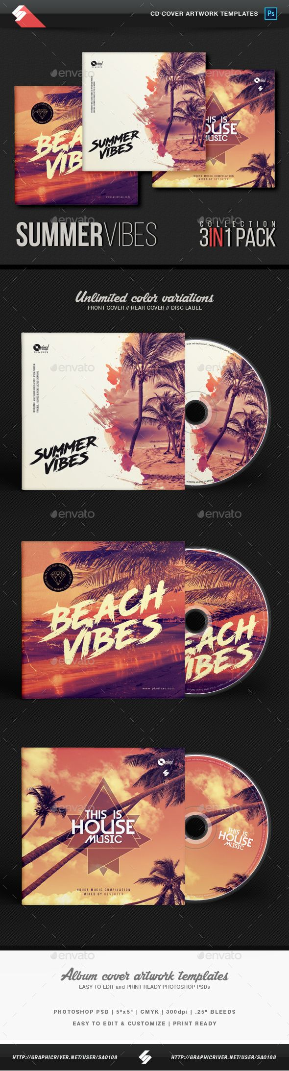 Summer Vibes - House Music CD Cover Templates Bundle CD / DVD album cover artwork templates, podcast image artworks – Creative summer beach collection – 3in1 pack – CD cover artwork templates for DJs and producers of electronic music like house, deep house, progressive, dubstep, drum and bass, electro, techno, tech-house, chillout, chillstep, chill-house, lounge, electronica, trance, minimal,...etc. Could be used also like digital release cover images on soundcloud, mixcloud, ...etc.
