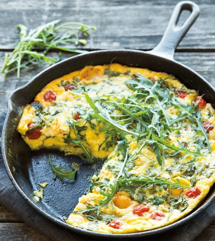 Tomato, Arugula and Goat Cheese Frittata   Here it stars with cherry tomatoes and a modest amount of goat cheese in an easy frittata that makes a hearty yet healthy brunch entrée.