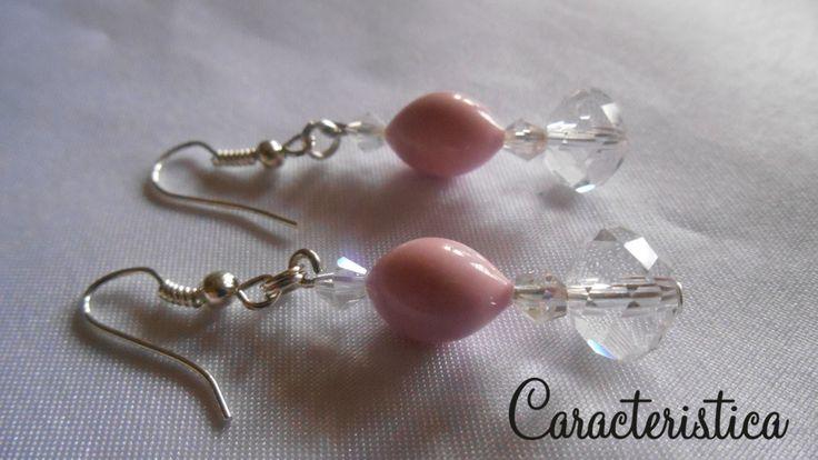 Orecchino con quarzo rosa e cristallo sfaccettato : Orecchini di caracteristica