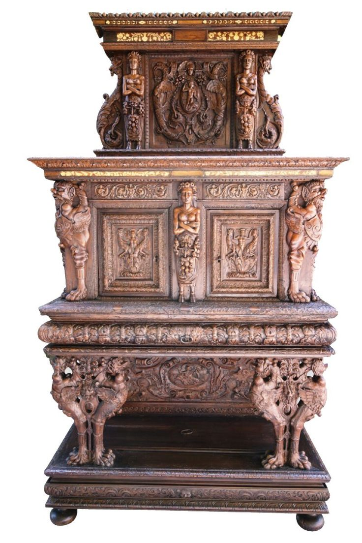 Victorian carved rosewood center table w marble turtle top cottone - A 16th Century French Carved Walnut Cabinet