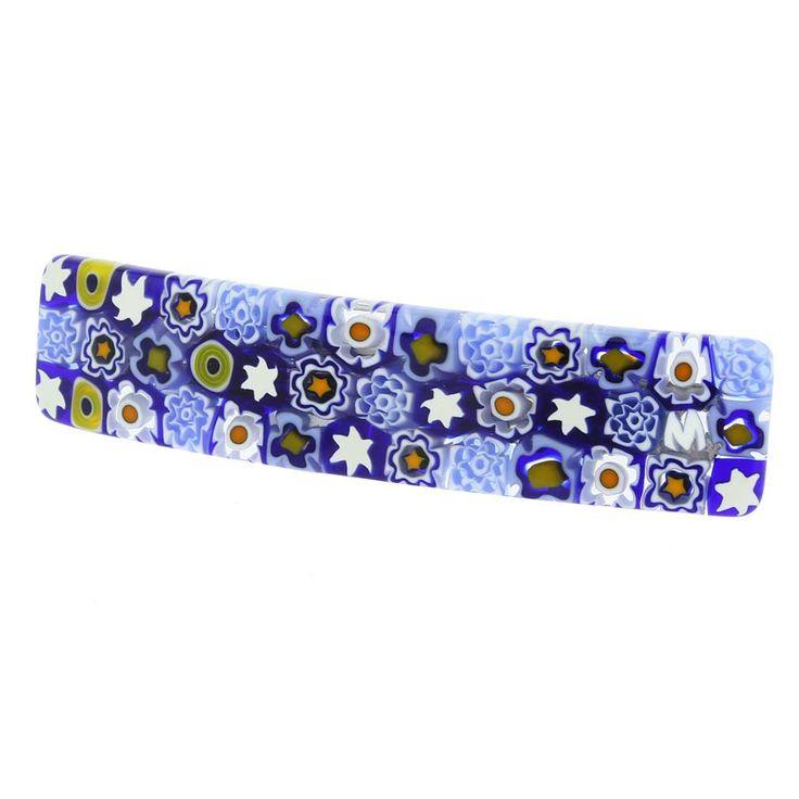 Murano Hairclips | Murano Glass Millefiori Hair Clip - Blue Flowers