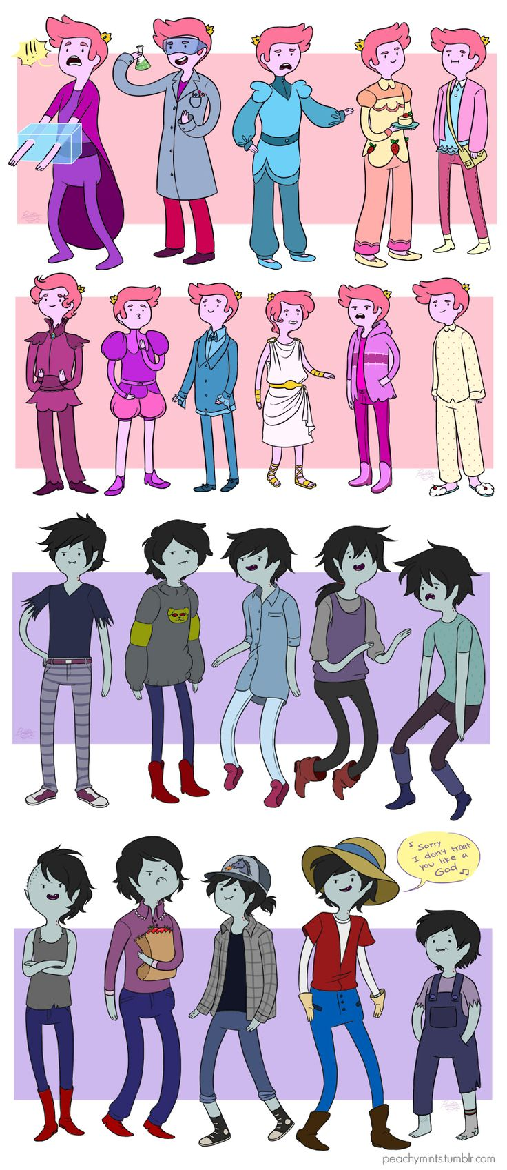 Outfits of Marshall Lee and Gumball
