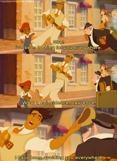 Princess & The Frog! The man giving Naveen the evil eye looks like Professor Harcourt whom Milo chases down from Atlantis.