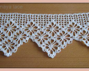 Handmade crochet lace trim diamond ecru cotton by romayacrochet