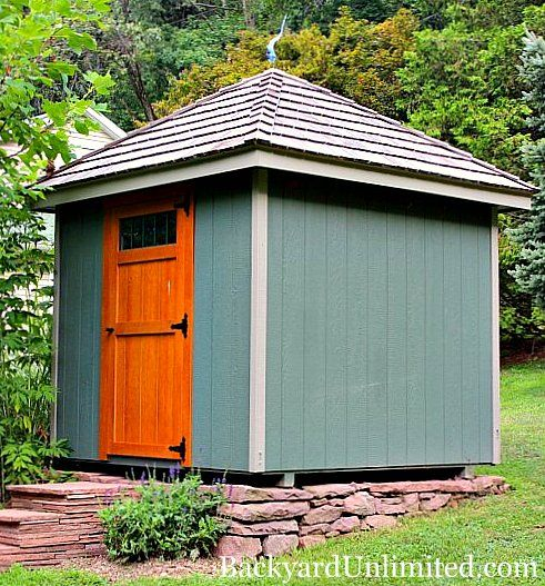 8 X8 Hip Roof Garden Shed With Transom Window In Rustic