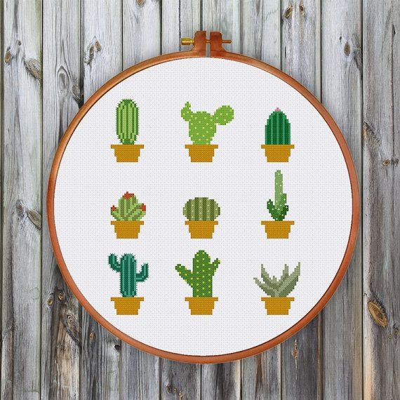 Mini Cactus cross stitch pattern| Modern cute cactus succulent counted chart| Botanical flower design| Easy beginner instant download pdf