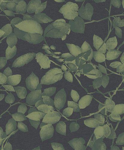 """Mörkgrå tapet med ett lövverk i gröna nyanser """"Forest Leaf"""""""