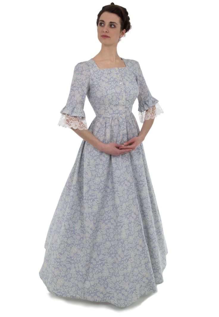Recollections  Code: 926  calico dress has a square neckline and front button closure. The elbow length sleeves are trimmed in an alluring lace and calico flounce. This dress also features our three-paneled full skirt with pockets.