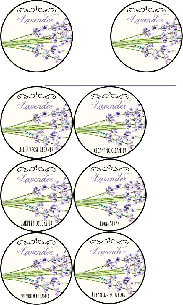 PRINTABLE LABELS Lavender Cleaning Labels