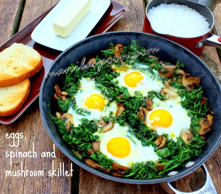 Eggs, Spinach and Mushrooms SkilletLow Carb, Food, Breakfast, Eating, Spinach, Manila Spoons, Healthy Recipe, Eggs Skillets, Mushrooms Skillets