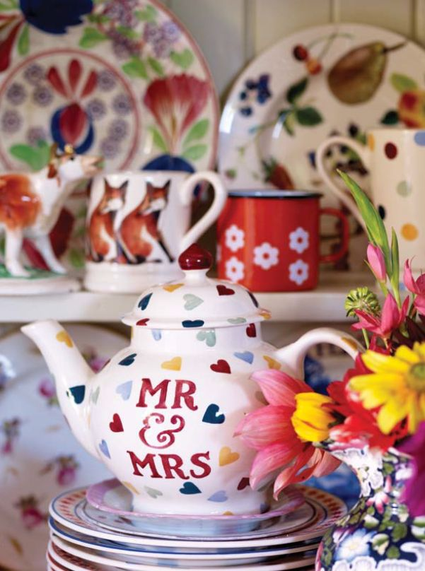 Emma Bridgewater Polka Dot - Polka Hearts Mr and Mrs Four Cup Teapot