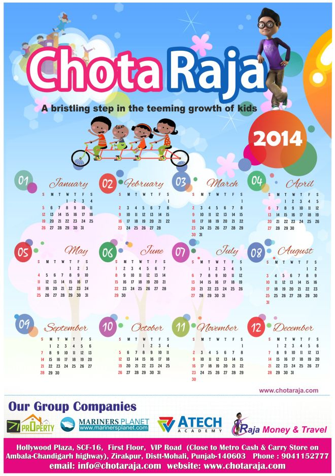 "Chotaraja.com is an ideal platform which combines learning with fun and entertainment with  information for Kids.  Please find below ""CALENDAR – 2014"" with positive & vibrant hopes for the coming year."