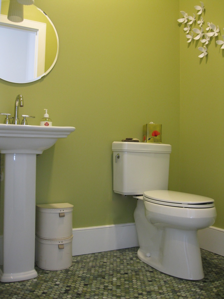Powder Room With Mixed Jade Penny Tile Floor Part 95