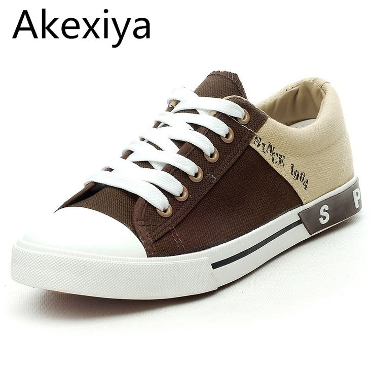 >> Click to Buy << Akexiya Men's Footwear Lace-Up Low Canvas Shoes Fashion Platform Gumshoes Men Plimsolls Shoes Patchwork Breathable Male Flats #Affiliate