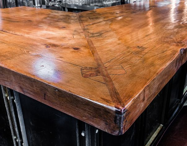 Faux Reclaimed Fir Bar Top With Inlays By Caribou