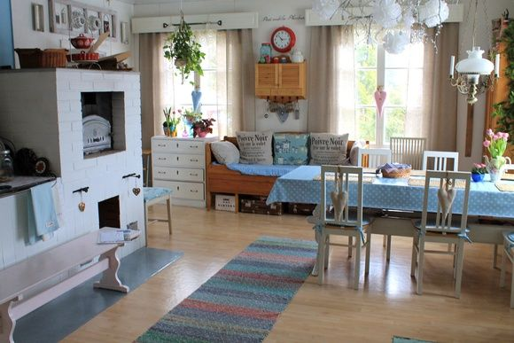 tupa,keittiö,vaaleansininen,värikäs,pöytä,tuoli,tuolit,räsymatto,uuni,leivinu