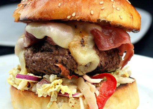 Possibly the Best Burger Buns Ever and a recipe for the Fat Doug Burger - a huge, juicy Burger with Pastrami, Swiss Cheese and Slaw