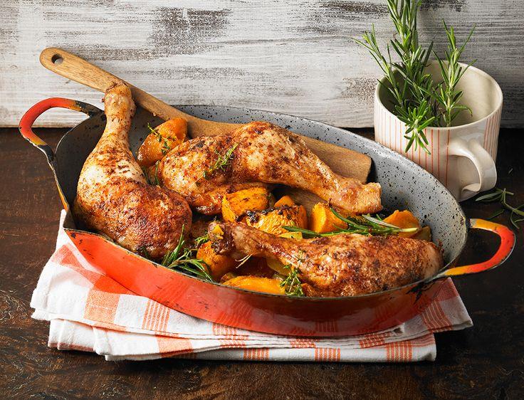 Hähnchenschenkel mit Kürbis-Kartoffel-Gemüse