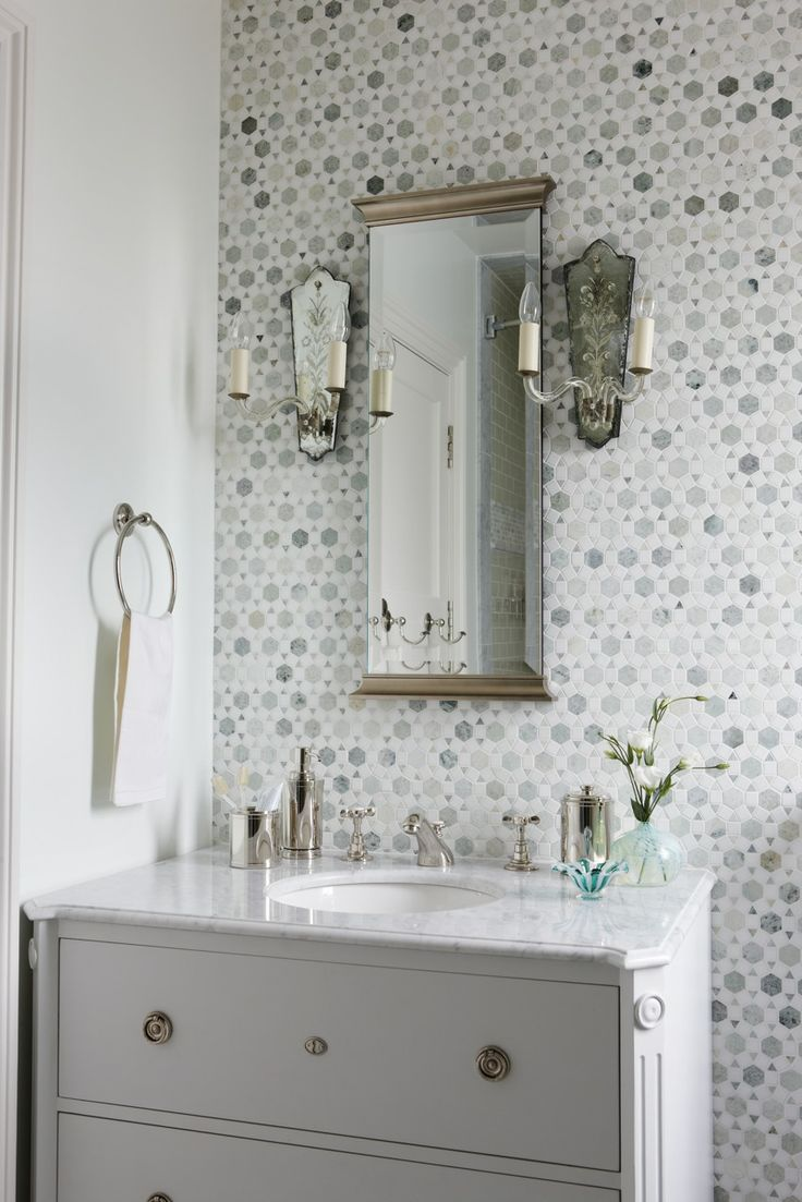 Sunflower Carrara Thassos Tile Transitional Bathroom Sarah Richardson Design Stunning Bathroom With White Bathroom Vanity With Marble Top Mirror Flanked