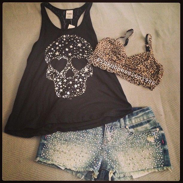 Rocker Ladies Outfit - Black Tank Top With Skull, Cut Off Jean Shorts & Leopard Print Bra!