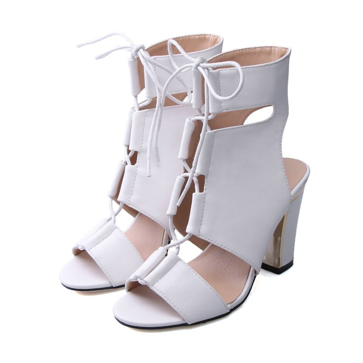 2017 Summer Cut-Outs 9cm Square High Heels Women Sandals   Sexy Gladiator Soft PU Leather Cross Tied Women Shoes