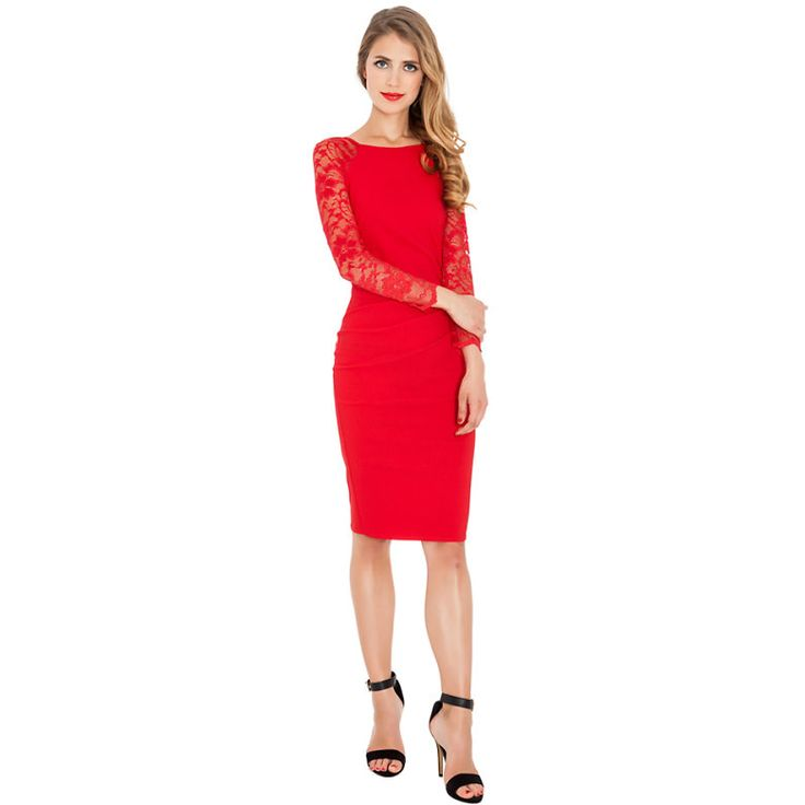 Red dress with lace sleeves and knee length