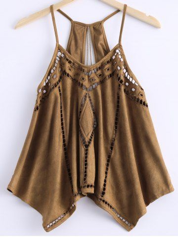 Love this Top! Stylish Kahki Color Scoop Neck Openwork Spaghetti Strap Top For Women #Strappy #Khaki #Open_Work #Tank_Top