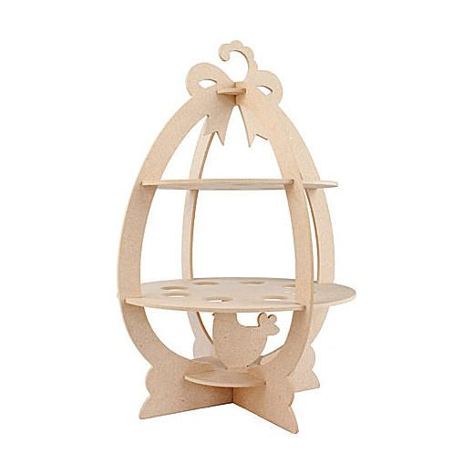 MDF 3D egg stand for you to decorate.  The shape is in 4mm thick MDF.  Size approximately 286 x 286 x 413mm.    Holds 16 eggs.