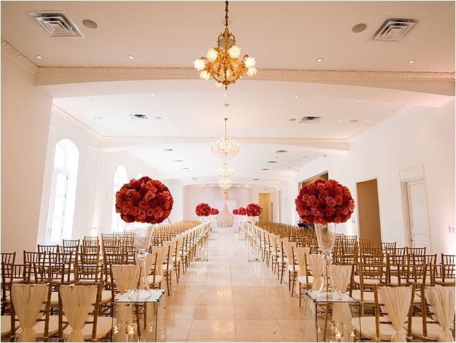Champagne and Red Wedding Cemony ~ Elegant Wedding Inspiration ~ Venue: Chateau Cocomar ~ Photo: Civic Photos ~ Flowers: Flora & Eventi ~ Decor & Rentals: EB Inc. ~ Wedding Consultant: A Day to Remember