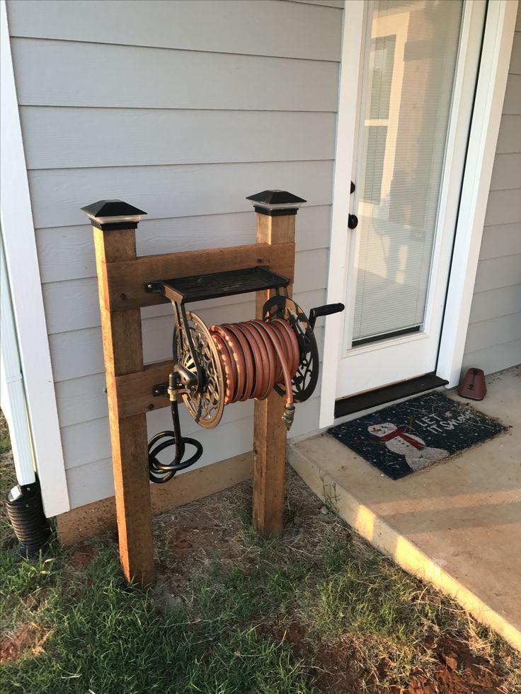 Image result for wooden hose reel box Garden hose