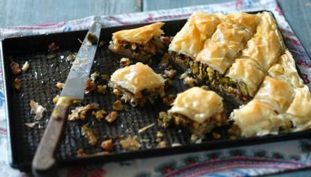 Sticky sweet, flaky and nutty, a small slice of baklava goes a long way, especially with a tiny cup of strong coffee. Serve after a mezze feast.