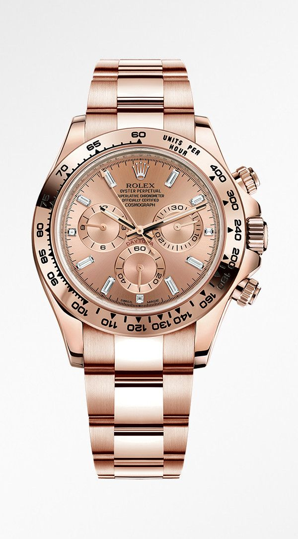 Rolex Cosmograph Daytona in 18ct Everose gold with a pink dial and diamond-set hour markers.
