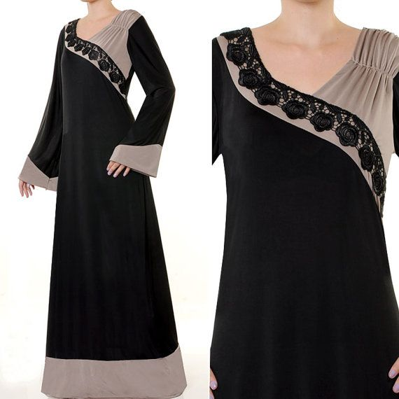 Floral Applique Black Long Sleeves Islamic Abaya by MissMode21, $34.00