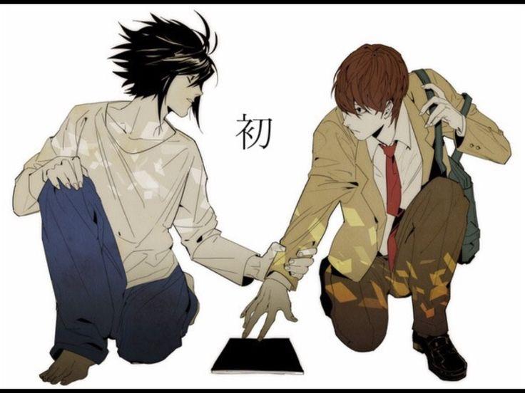 Tags: Death Note, L Lawliet, Light Yagami, LxLight (I guess??), fan art