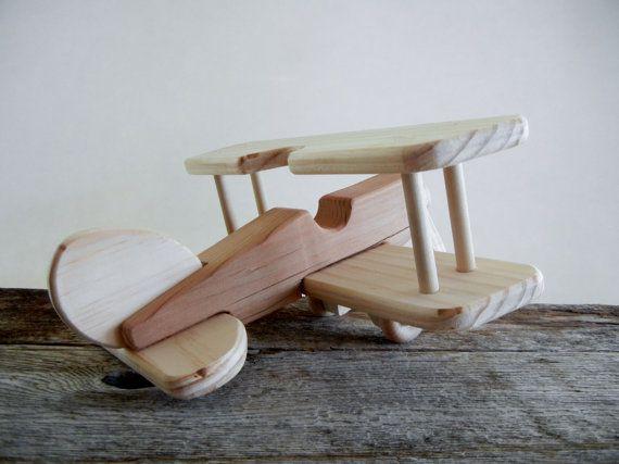 Red Toy Airplane Handmade Wood Biplane-Free Spinning Rotor
