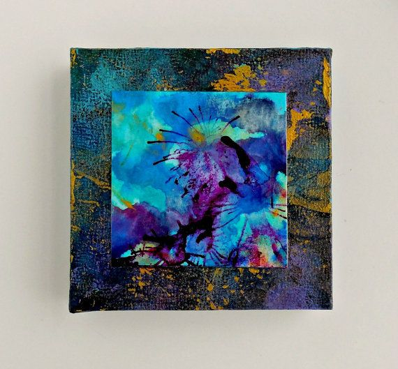 Items Similar To NEBULA Abstract Original Art Lyrical Abstraction Teal  Blues Violet Small Format Cradled Office Decor On Etsy