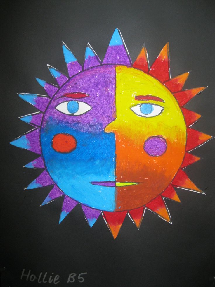Oil pastels were used to create warm/cool sun.